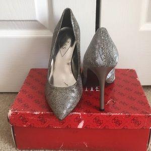 Guess Shimmer Silver Multi Animal Print Heels